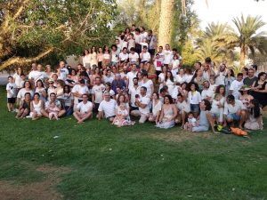 kibbutz lotan community wearing white in shavuot