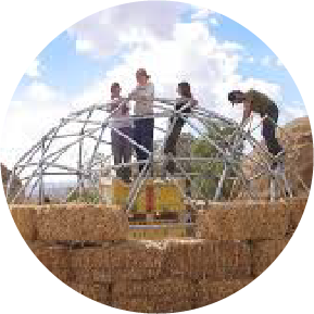 building geodesic dome at kibbutz lotan