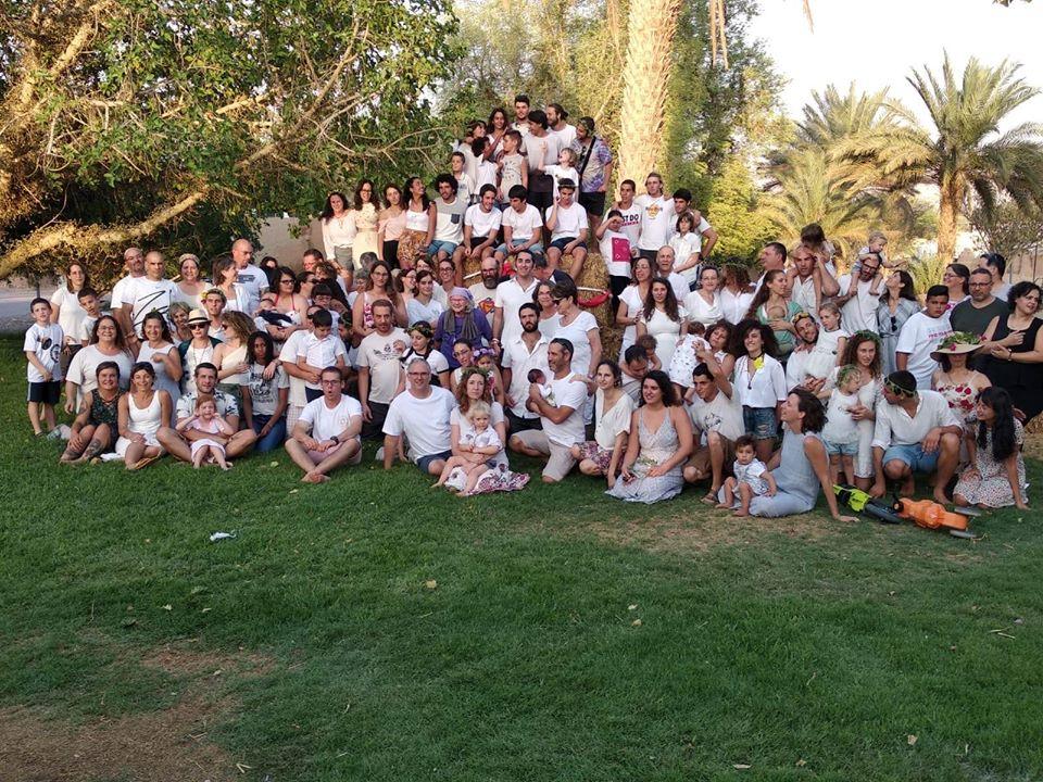 kibbutz lotan community wearing white in shavuot